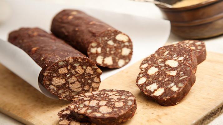 как сделать колбасу из какао и печенья